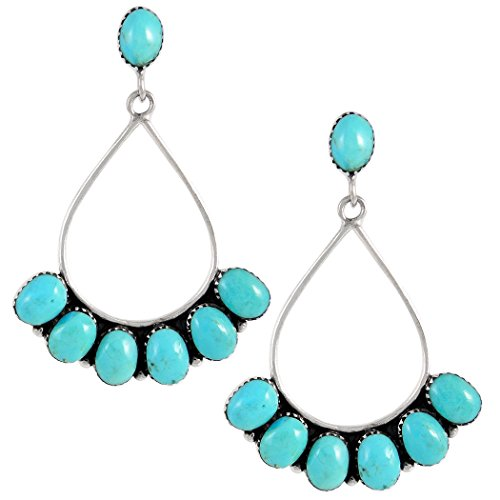(Turquoise Earrings 925 Sterling Silver & Genuine Turquoise (Select style) (Bold Southwest))