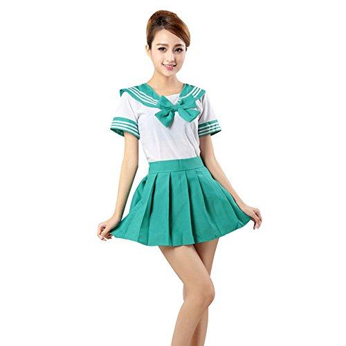 LSERVER Japanese Anime Classice Cute Sailor Suit Short Sleeve Students Uniform Set Costume for Girl Women -