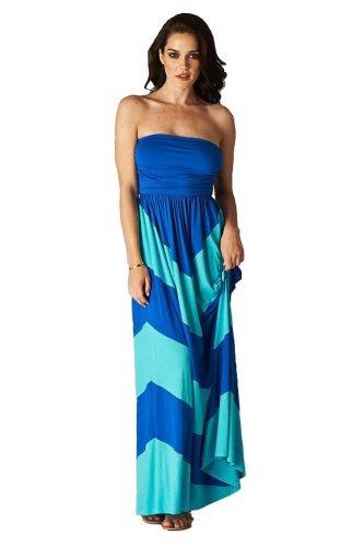 Charm Your Prince Women's Sleeveless Summer Chevron Empire Maxi Dress Aqua Blue and Turquoise Medium