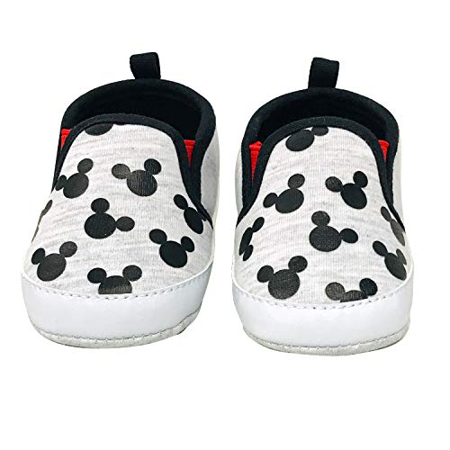 Disney Mickey Mouse Red and Black Infant Shoes (3-6 Months, Black and White) (Disney Shoes Baby Size 5)