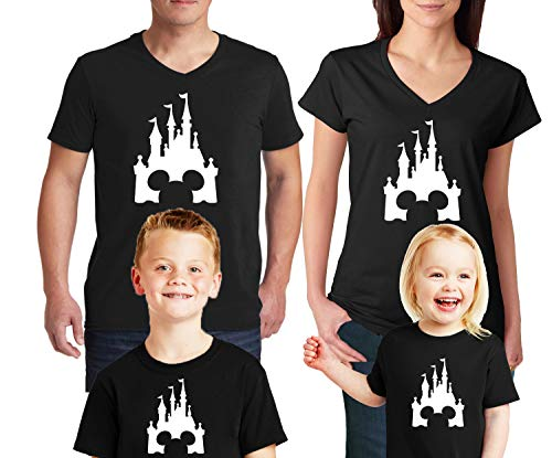 Disney Family Trip #2 Disneyland Castle V Neck T-Shirts Disney Family Mickey Minnie Mouse Family Disney Trip T-Shirts Cotton V Neck Tee Shirts Black Women Large