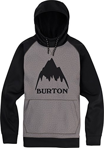 Burton Men's Crown Bonded Pullover Hoodie, Monument Heather/True Black, Medium