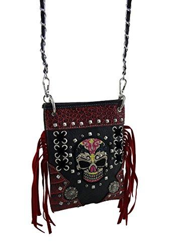 Red Skull Messenger Bag (Western Handbag Biker Skull Whipstitch Fringed Messenger Crossbody Bag)