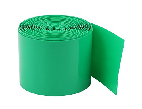 YXQ 5M 50mm PVC Heat Shrink Tubing Wrap for 18650 Battery Dark Green