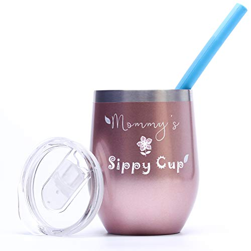 (Wine Tumbler GIFT | Double Wall Vacuum Insulated Stainless Steel Stemless Wine Tumbler Glass With Lid & Straw Funny Saying Gifts for Women (Pearlized Rose Gold - Mommy's Sippy Cup - Mom GIFT))