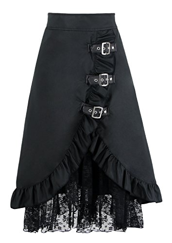 Charmian Women's Plus Size Steampunk Goth Vintage Victorian Gypsy Hippie Lace Party Skirt Black Medium