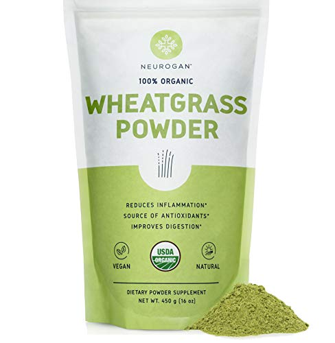 Neurogan Organic Wheat Grass Powder (1lb) - USDA Organic Raw Wheatgrass Concentrate, Rich in Vitamins, Fiber, Chlorophyll and Trace Minerals, Increase Blood Cell Oxygen, Reduce Inflammation, Non-GMO