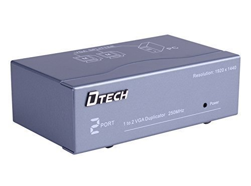 DTECH Powered 1 In 2 Out VGA Video Splitter Distribution (2 Way Vga Switch)