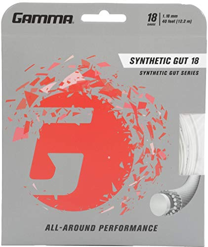 18g Strings - Gamma Synthetic Gut 18G Tennis String, White