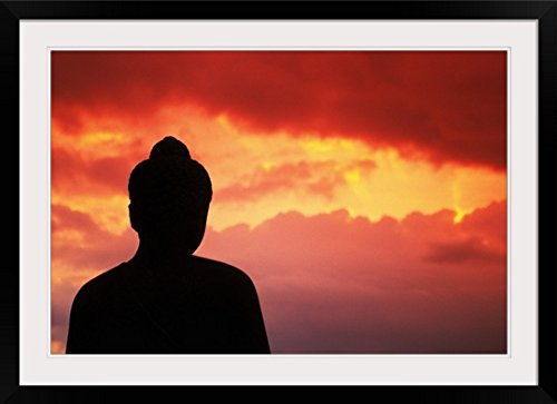 GreatBIGCanvas ''Indonesia, Java, Borobudur, Temple Relic, Buddhist Statue At Sunset'' by Richard Maschmeyer Photographic Print with Black Frame, 36'' x 24'' by greatBIGcanvas