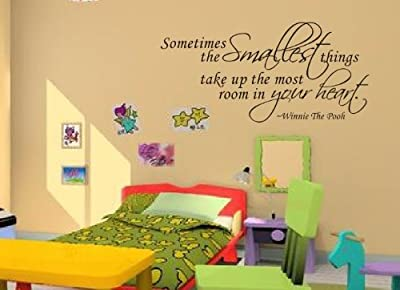 New Design Sometimes the Smallest Things Take Up the Most Room in Your Heart Quote Winnie The Pooh Wall Decal for Kids' Room Decal Decor by New Design