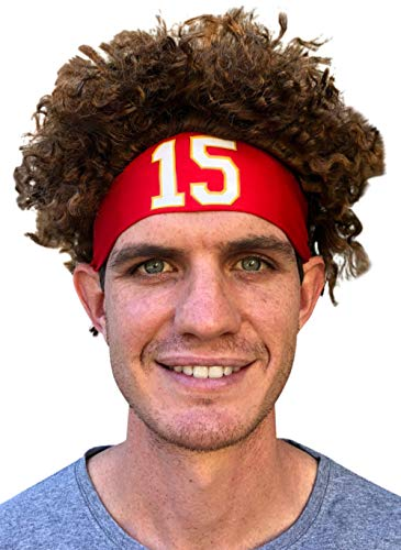 Mahomes Headband Football Costume Red Color Party Wig