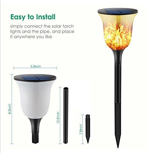 MYY Flammes Solaires Scintillantes Torche Lumières Jardin Sentier Paysage Extérieur Décoration Éclairage Flamme Danse(2Pack),B