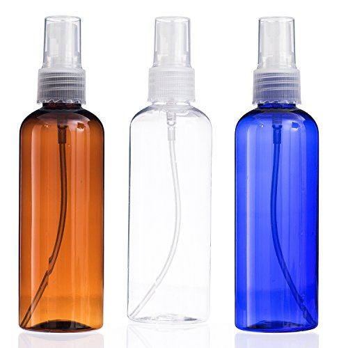 Maxforlife 100ML Travel Bottle Set , Travel Size Cosmetic, Toiletries Liquid Containers, Leak Proof Empty Perfum Bottle 3 Pack, Blue Clear Brown