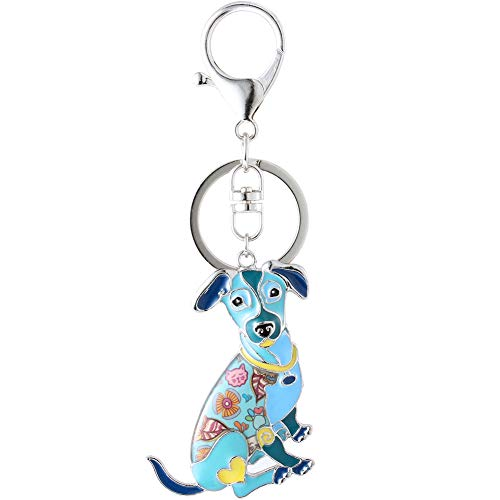 Marte&Joven Blue Jack Russell Terrier Gift Keychain for Dog Lover Cute Art Enamel Dog Charm Bag Keychains (Jack Terrier Charm)