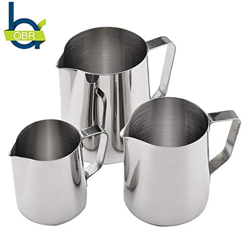 FIOLTY 350ml/600ml/900ml Stainless Steel Mk Fing Pitcher cappuccino mk jug Mug Cup Espresso Latte Foam Container:, 600ml