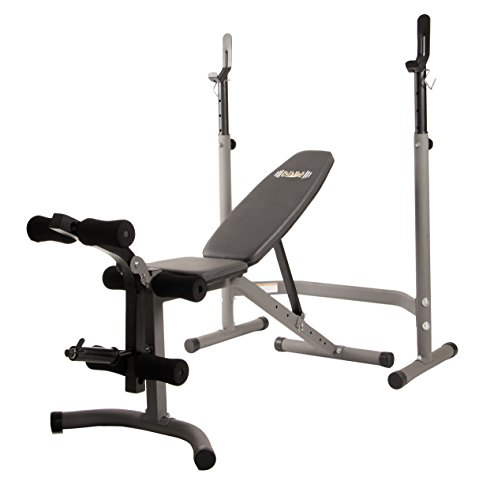 Body Champ BCB3780 Olympic Weight Bench with Leg Extension Curl Lift Developer Attachment / 2 piece Combo Bench and Squat Rack Stand