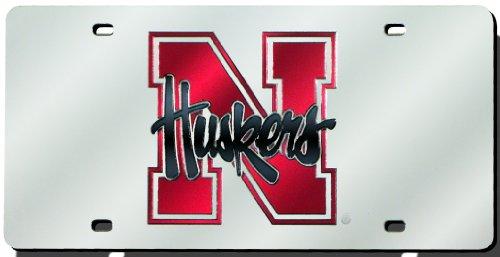 Nebraska Huskers Laser Cut Silver License ()