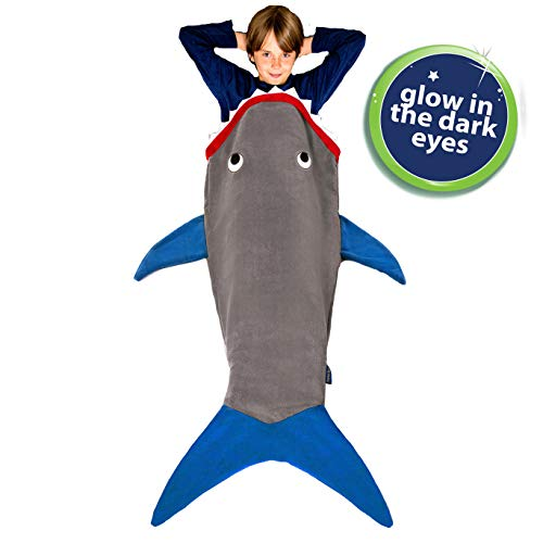 Blankie Tails New Gray and Deep Blue Glow in The Dark Shark Blanket]()