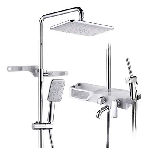 Bathroom Shower Mixer 3-Way Shower Set with Shower Shelf Shower System Square Adjustable Shower Rail, White