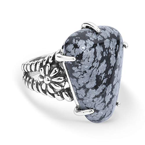 Sterling Silver Snowflake Obsidian Gemstone Native Flower Ring - Size 09