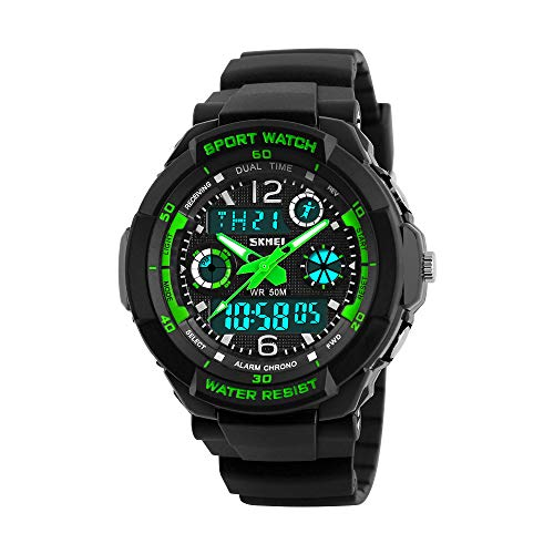 Kids Watch, Boys Sports Digital Waterproof Led Watches with Alarm Wrist Watches for Boy Girls Children Black and Green ¡