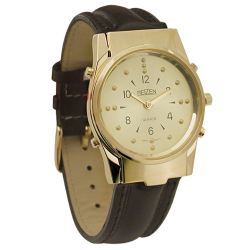 Mens Gold-Tone Braille and Talking Watch - Leather Band by Reizen