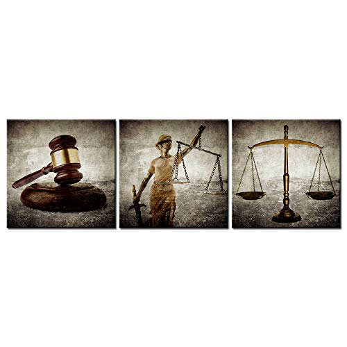 (Biuteawal - Legal Canvas Wall Art Law Firm Scales Justice Hammer Picture Prints on Canvas Justitia Lady Poster Painting Contemporary Artwork for Court Home Office Study Room Decoration Ready to Hang)