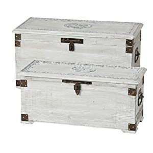 WHW Whole House Worlds Americana Steamer Trunks, Blanket Chests, Storage Boxes, Set of 2, Medallion and Tooled Metal…