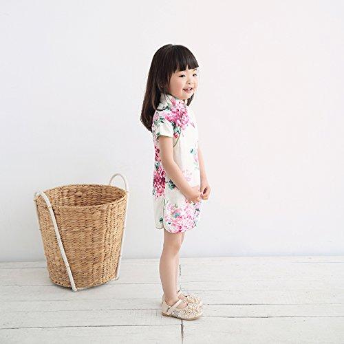 Rose Traditionnel Manche Cheongsam Chanvre Fleur Chinois Coton Courte En Robe Qipao De Avec Fille Acvip Enfant qXx6RXp