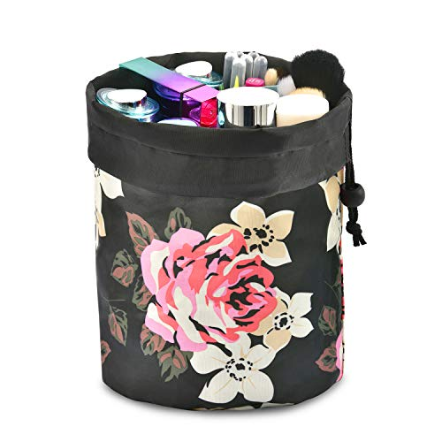 NiceEbag Makeup Bag Drawstring Cosmetic Pouch Barrel Toiletry Bag Travel Makeup Storage Organizer, Water-resistant, Soft, Lightweight, Foldable, Eco-Friendly, Cute, Great Gift for Women Girls(Peony)
