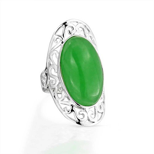 Filigree Scroll Boho Fashion Statement Full Finger Dyed Green Jade Ring Band For Teen For Women 925 Sterling Silver