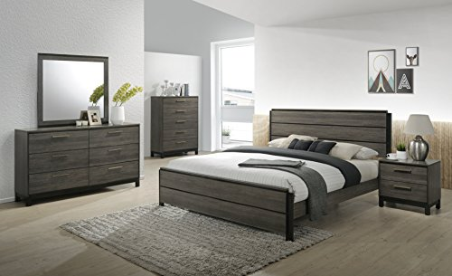 Roundhill Furniture Ioana 187 Antique Grey Finish Wood Bed Room Set, Queen Size Bed, Dresser, Mirror, Night Stand, Chest