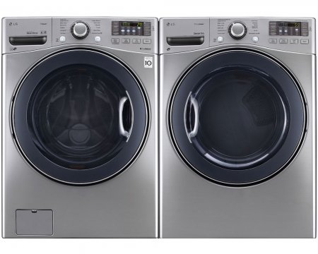 POWER PAIR SPECIAL-LG TURBO SERIES ULTRA CAPACITY LAUNDRY SYSTEM WITH STEAM TECHNOLOGY, AND STAINLESS DRUMS (WM3570HVA_DLEX3570V) *GRAPHITE STEEL COLOR* (Laundry Machine Lg compare prices)