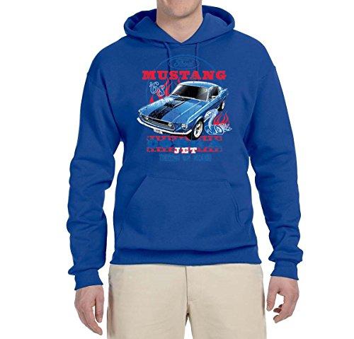 - Ford Mustang Cobra Jet USA   Mens Planes/Trains/Automobiles Hooded Sweatshirt Graphic Hoodie, Royal, Small
