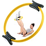 Oyomba Pilates Ring by 14' Workout Magic Circle - BALANCED BODY CIRCLE TO Achieve a PERFECT Body Shape - BEST for EXERCISES, TONIFY Legs; Arms; Inner thighs; BELLY BUTTON (Yellow Aureolin)