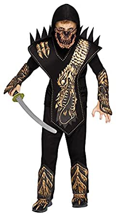 Boys Halloween Costume-Skull Dragon Ninja Gold Kids Costume Large 12-14