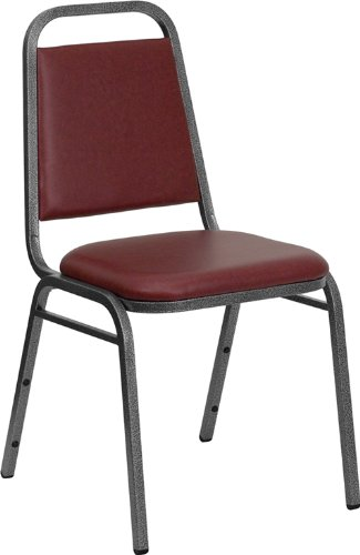 Offex OF-FD-BHF-2-BY-VYL-GG Hercules Series Trapezoidal Back Stacking Banquet Chair with Burgundy Vinyl and 1.5'' Thick Seat, Silver Vein Frame