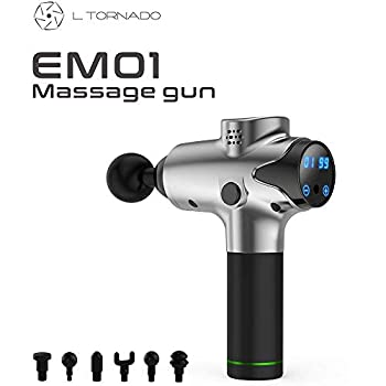 Image of Health and Household L-Tornado Handheld Percussive Massage Gun for Releases Muscle Tension & Soreness,Handheld Electric Body Massager,Quiet-20 Speed Setting-6 Interchangeable Head