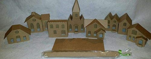 (Vintage Style Putz Houses- Set of 6 Houses & 1 Church - DIY)