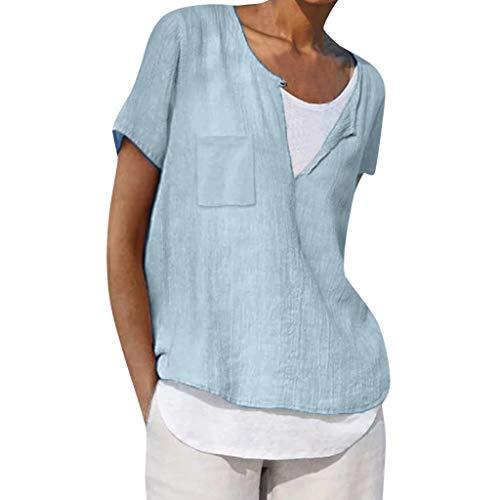 (Sunhusing Women's Summer Solid Color V-Neck Short Sleeve Comfort Loose Pocket Blouse Top Thin Shirt Light Blue)