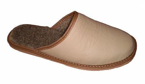 Marited Herren Natürlich Leder 100% Wolle Beige Pantoffeln Hausschuhe