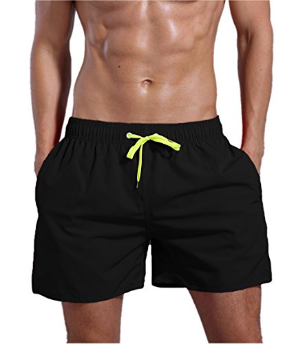 ORANSSI Men's Quick Dry Swim Trunks Bathing Suit Beach Shorts, Black, Large, 38-40 - Men's Swimwear