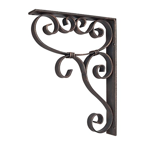 Home Decor MCOR5-DBAC Metal (Iron) Scrolled Bar Bracket with Knot Detail - Dark Brushed Antique Copper by duBois