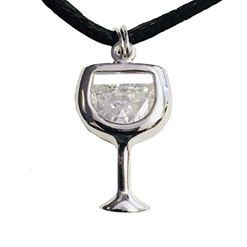 Wine Goblet Pendant, Clear Diamond-Color CZ, Rhodium Plated Sterling Silver Wine Goblet Charm Jewelry