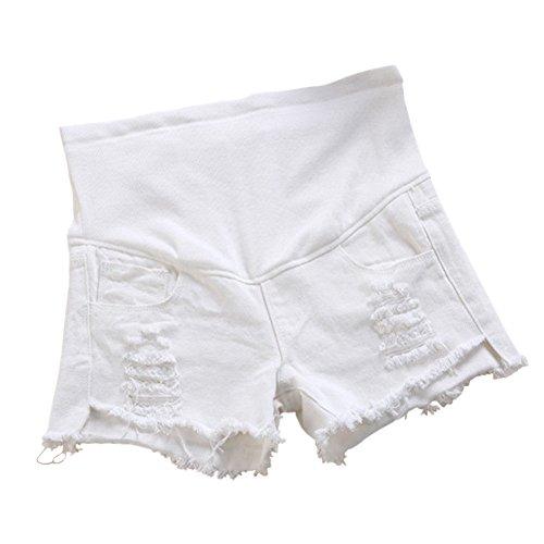Grossesse Denim Jeans Maternit Blanc Blanc Enceinte Over de Pantalons Femme Xinvision Belly Court Ceinture wx0CCv