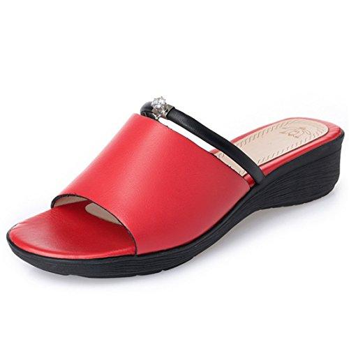 Zapatillas Gran de Fondo Damas gules Grueso Mollete Playa Zapatos Sandalias Zapatos qwPfI8ntP
