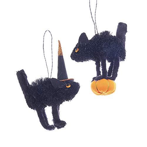 Kurt Adler Halloween Themed Buri Scaredy Cat Ornaments 2 Assorted]()