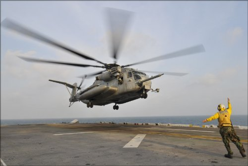 42x63 Poster; H-53E H-53 Sea Stallion Helicopter Aboard Amphibious Assault Ship Uss Essex (Lhd 2)