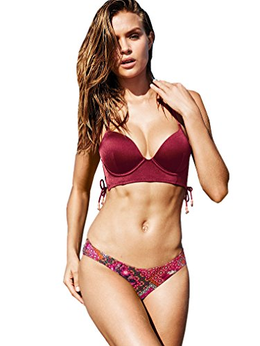 Victoria's Secret Swim Set The Bombshell Push-Up Long Line Top Candy Apple Red The Luxe Knockout Bottom Shine Fabric 34B S by Victoria's Secret